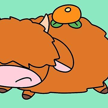 Orange Fruit Highland Cow by SaradaBoru