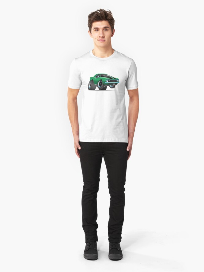 Alternate view of Classic 60's American Muscle Car Cartoon Slim Fit T-Shirt