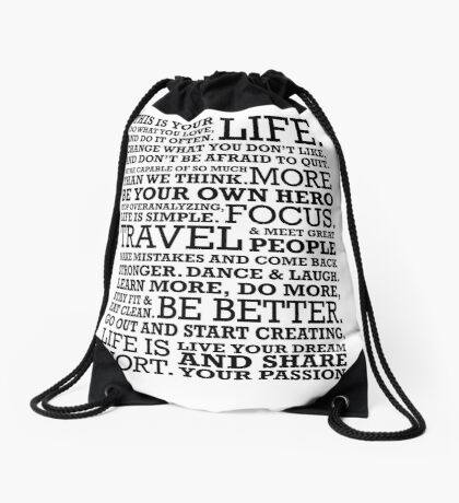 Motivational Manifesto Drawstring Bag