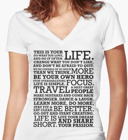 Motivational Manifesto Women's Fitted V-Neck T-Shirt
