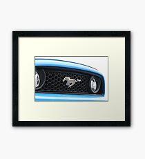 Blue Mustang Grill Emblem Framed Print