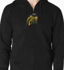 Dark Florals with Bright Yellow Rose Accents Zipped Hoodie