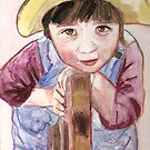 Louise playing, watercolor on yupo paper by Sandrine Pelissier