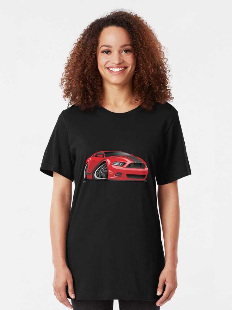 Alternate view of American Muscle Car Cartoon Illustration Slim Fit T-Shirt