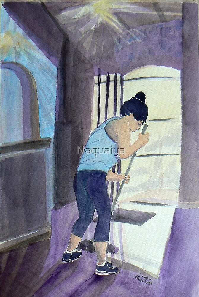 Cleaning the Light, watercolor celebrating everyday life by Naquaiya