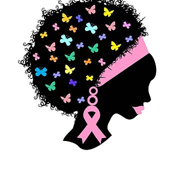 Black Woman Breast Cancer Awareness Tshirt by Tetete