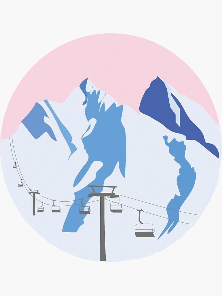 Snowy Mountains | Ski Sticker by laurawatson19