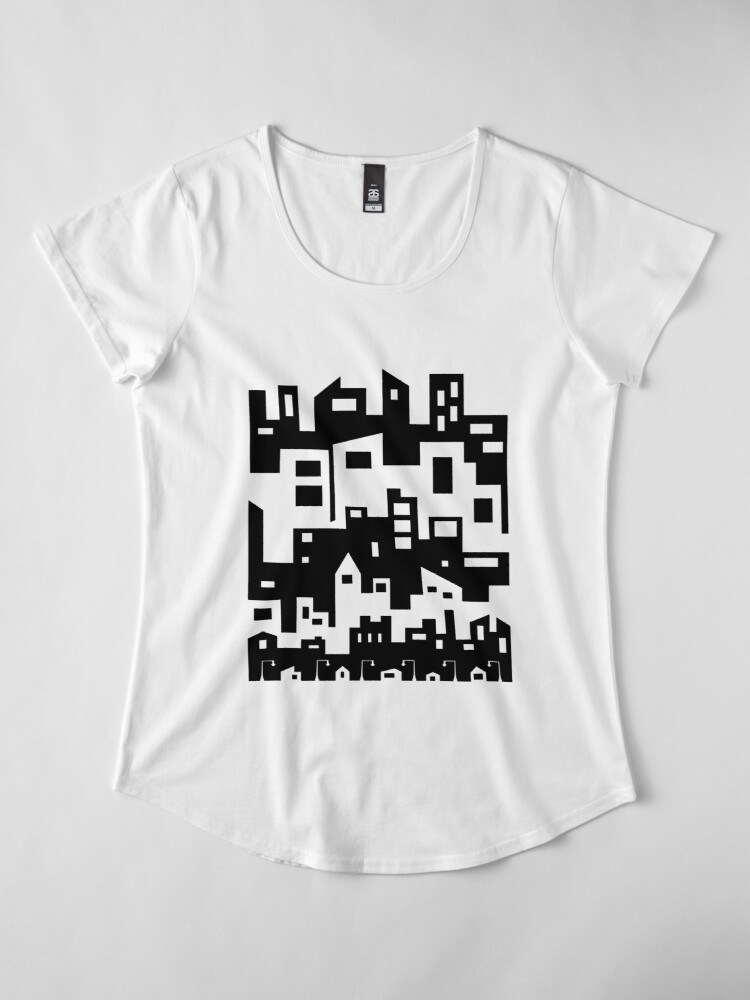 Alternate view of Stacked City Scape Premium Scoop T-Shirt
