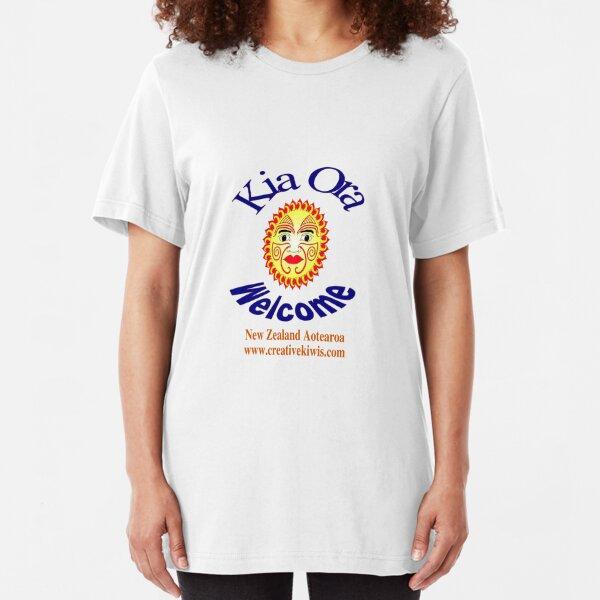 Kia Ora, New Zealand, Aotearoa Slim Fit T-Shirt