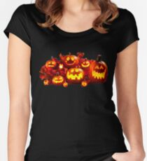 Funny Halloween Pumpkins Women's Fitted Scoop T-Shirt