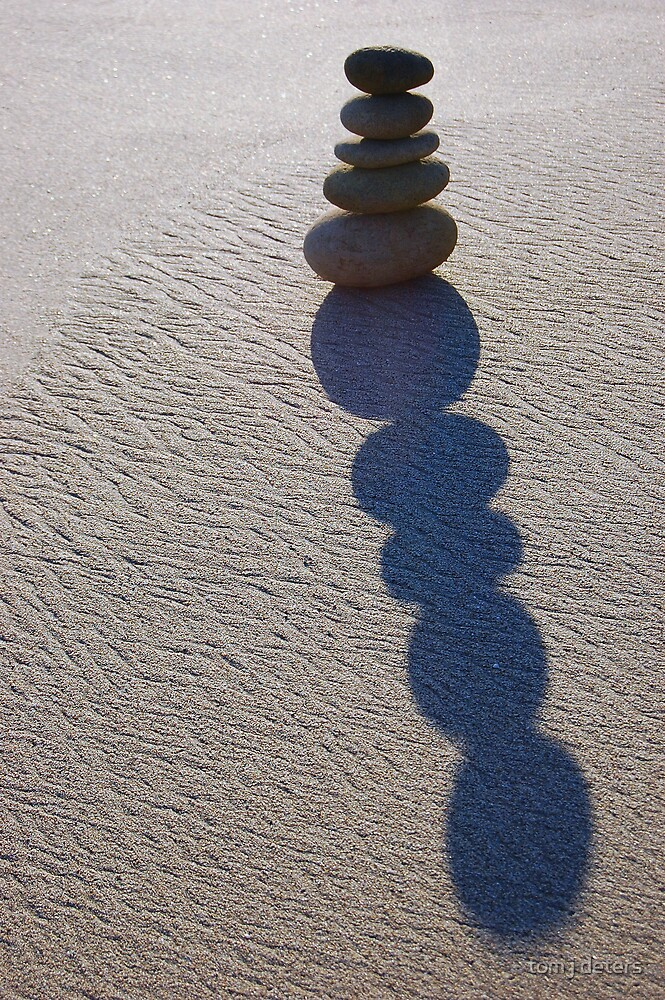Five Round Stone Stack & Shadow  by Tom Deters