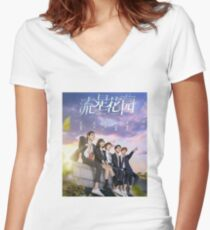 Camiseta entallada de cuello en V Jardín de meteoros
