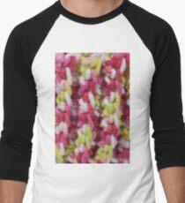 Pink and Green Crochet Stitches Men's Baseball ¾ T-Shirt
