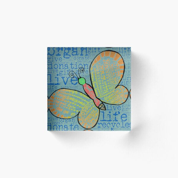 d0n8life Butterfly with Words Acrylic Block