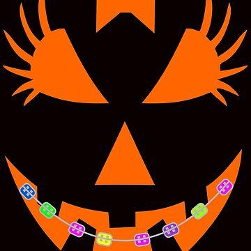 Halloween Pumpkin with Braces Orthodontist Costume Tshirt by Tetete