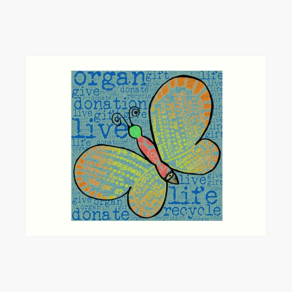 d0n8life Butterfly with Words Art Print