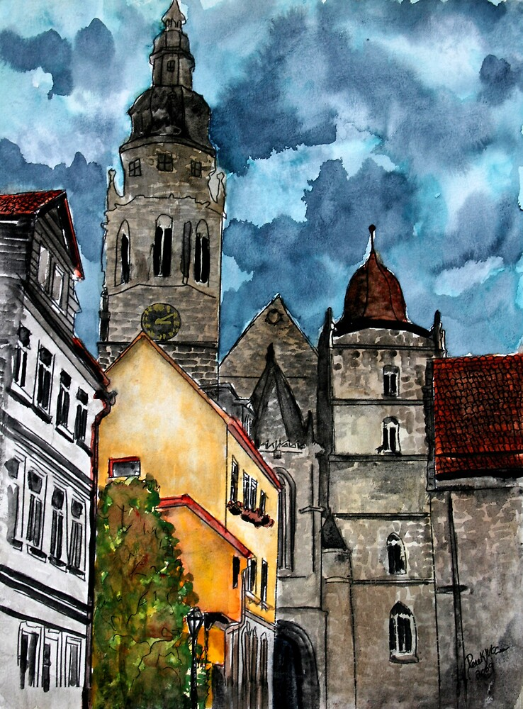 Coburg Germany watercolour painting by derekmccrea