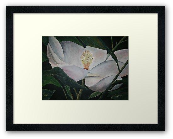 magnolia flower oil painting by derekmccrea