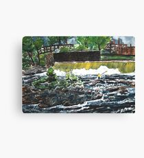 fly fishing the chattahoochee river painting Canvas Print