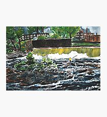 fly fishing the chattahoochee river painting Photographic Print