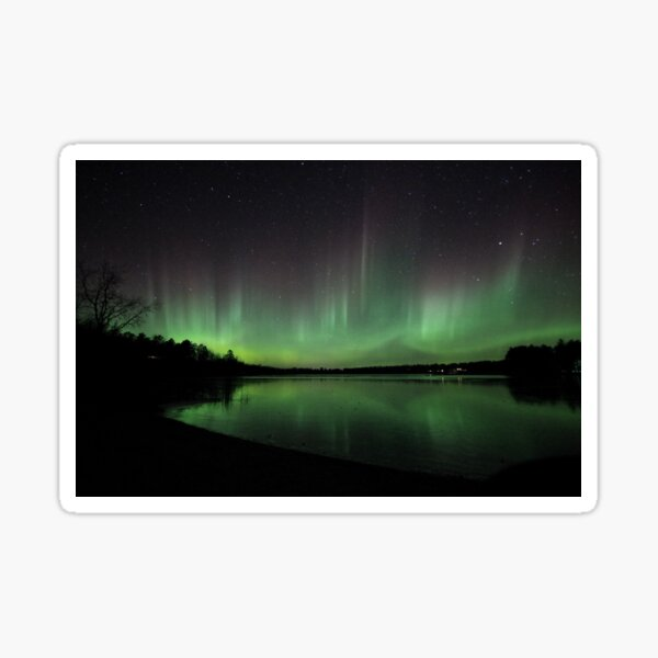 Gorgeous Northern Lights Dancing over a Lake in Park Rapids, Minnesota on November 7, 2017 Sticker