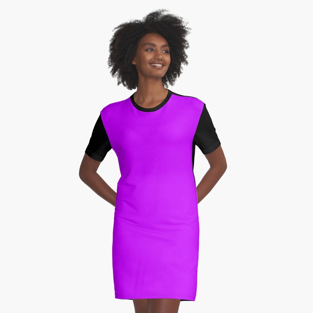 Neon Purple Graphic T-Shirt Dress