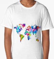 World Map Graphic Abstract Paint Splatter Long T-Shirt