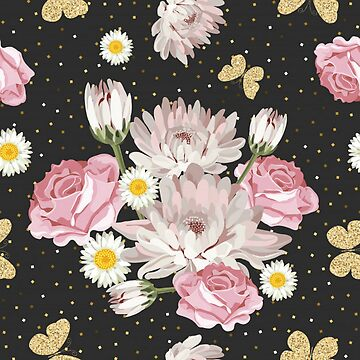 Gorgeous Unique Floral on Black Background by pugmom4