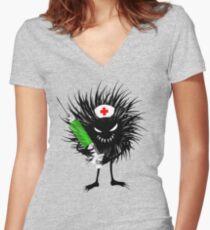 Funny Evil Bug Nurse With Syringe Women's Fitted V-Neck T-Shirt