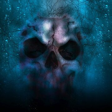 Illustration of a skull under water by PM-TShirts