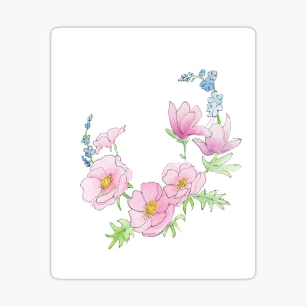 Scribble Florals One Sticker