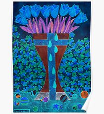 BLOODY BLUE TULIPS Poster