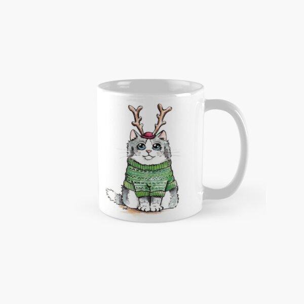 Meowy Christmas Cat Green Jumper Classic Mug