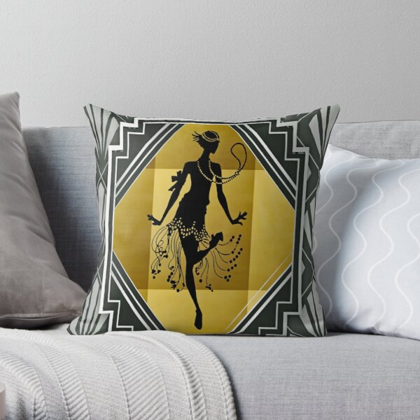 Art Deco Flapper Roaring 20's Gatsby Style Print Throw Pillow