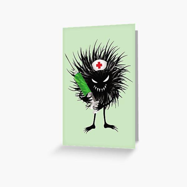 Funny Evil Bug Nurse With Syringe Greeting Card