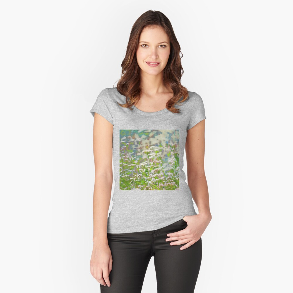 Abstract meadow Fitted Scoop T-Shirt