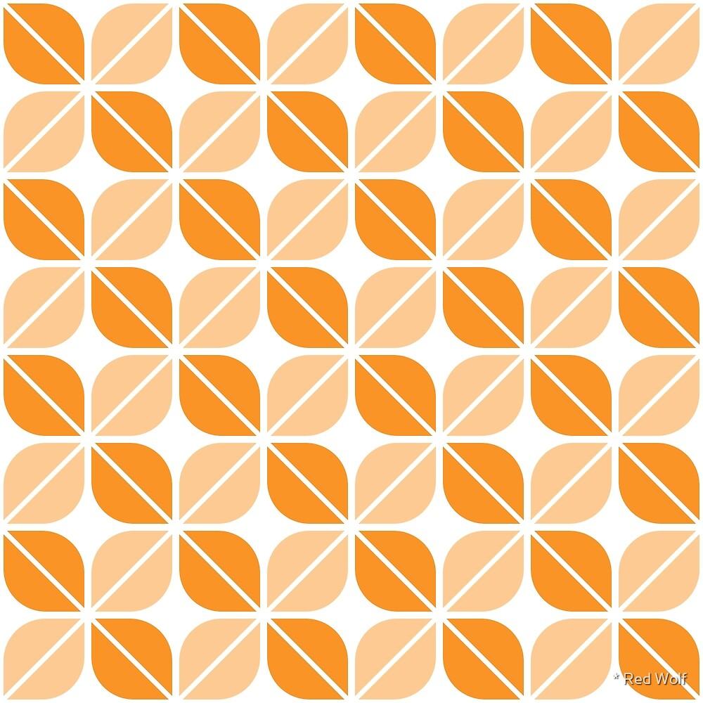 Geometric Pattern: Leaf: Orange/White by * Red Wolf