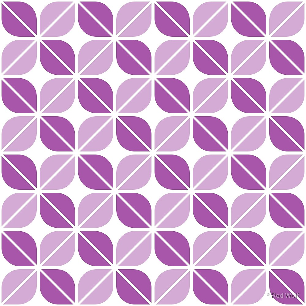 Geometric Pattern: Leaf: Purple/White by * Red Wolf