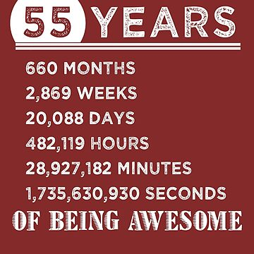 55th Birthday Gifts 55 Years Old of Being Awesome by FiftyStyle