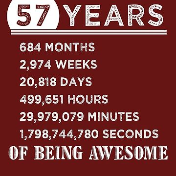 57th Birthday Gifts 57 Years Old of Being Awesome by FiftyStyle