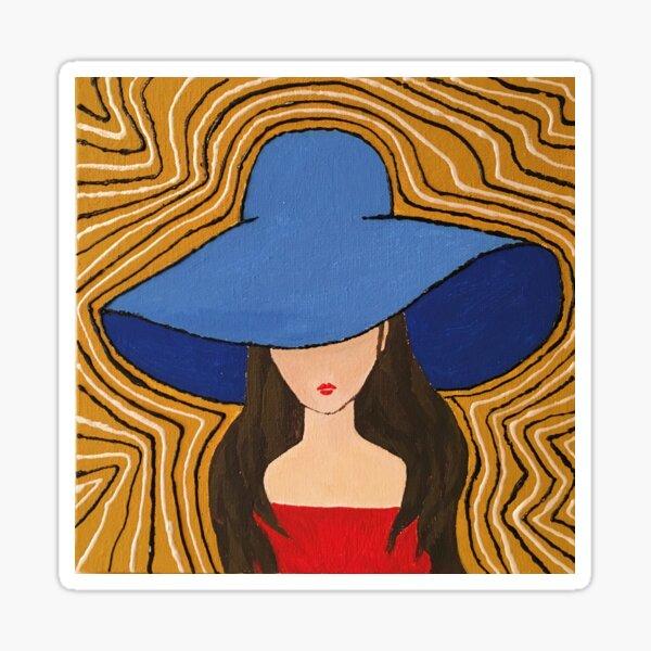 Lady in a blue hat Sticker