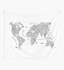 World Map - Wanderlust Adventure Typography  Wall Tapestry
