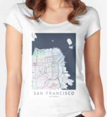 San Francisco City Map USA California Women's Fitted Scoop T-Shirt