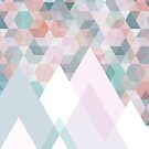 Pastel Graphic Winter Mountains on Geometry #abstractart #winterart by Dominiquevari
