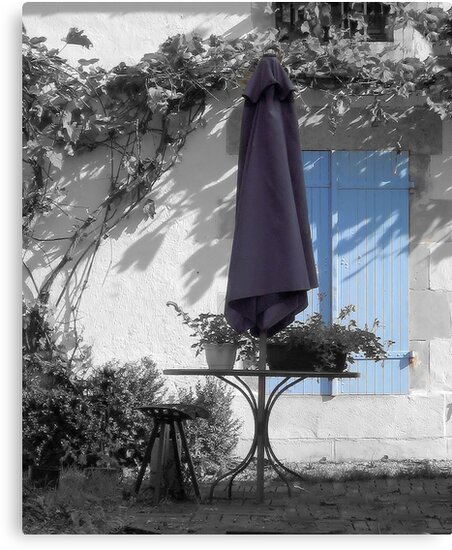 Summer Blues - Parasol and Shutters by Pamela Jayne Smith