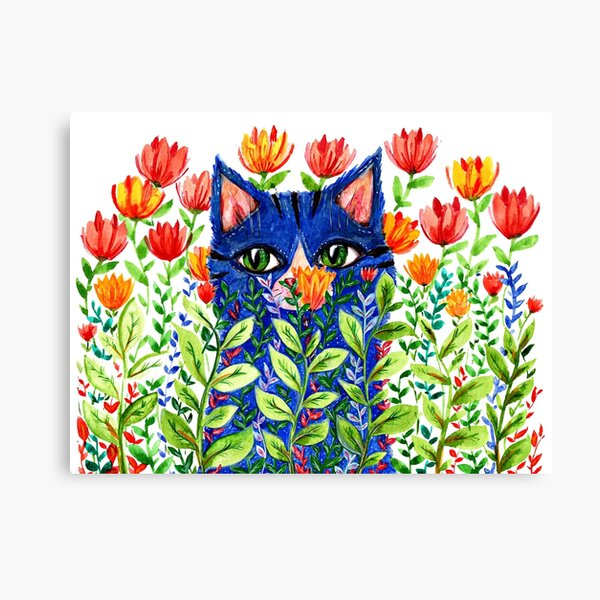 Blue cat and red tulips Canvas Print
