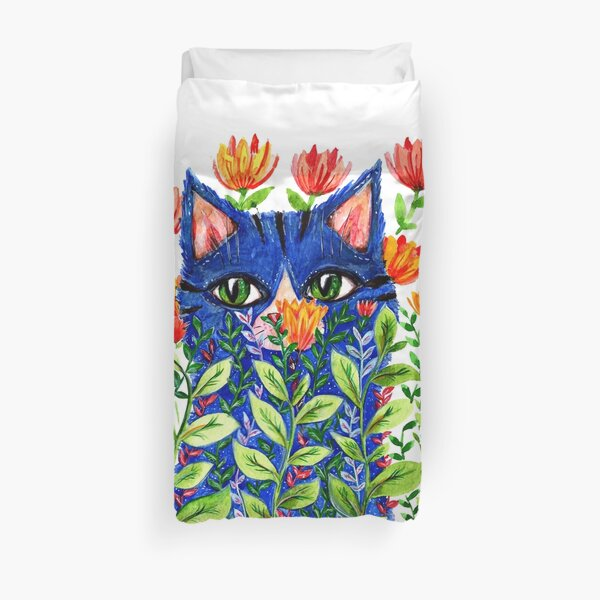 Blue cat and red tulips Duvet Cover