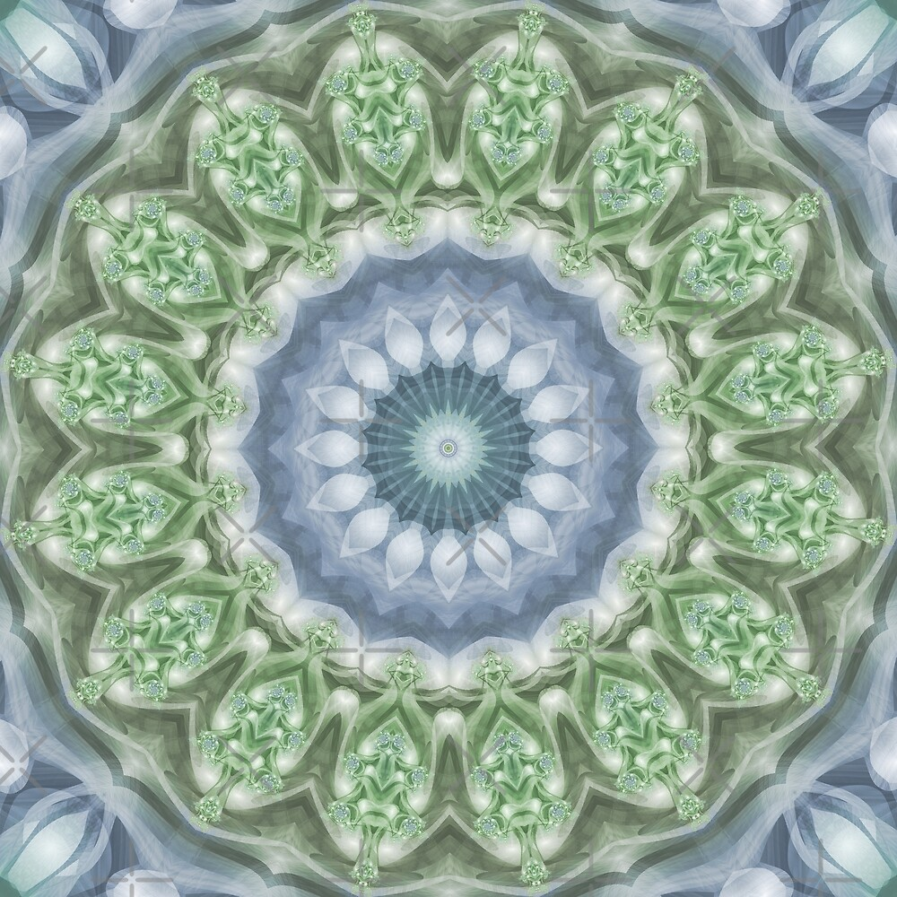 Slate Blue and Green Mandala by Kelly Dietrich