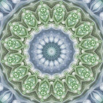 Slate Blue and Green Mandala by kellydietrich