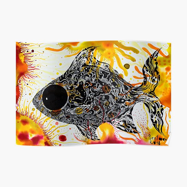 Orange fish Silver barb in aquatic weed home of Silver barb : House of hope Series  Poster